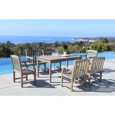 Renaissance Hand-Scraped Acacia 7-Piece Patio Dining Set with 32 in. W Table and Arched Slat, Back Armchairs