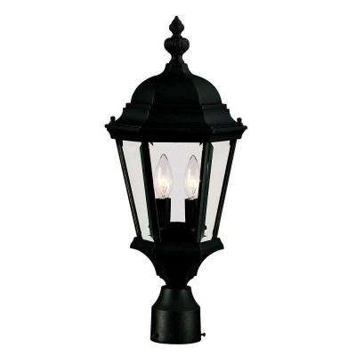 2-Light Outdoor Textured Black Post Mount Lantern