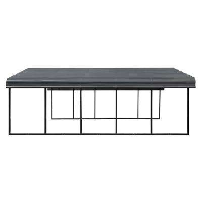 20 ft. W x 24 ft. D x 7 ft. H Charcoal Galvanized Steel Carport, Car Canopy and Shelter