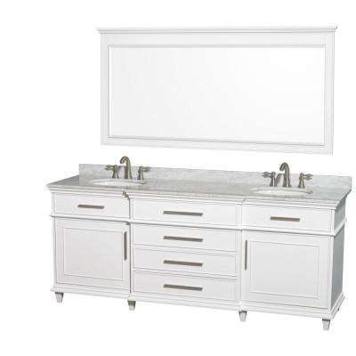 Berkeley 80 in. Double Vanity in White with Marble Vanity Top in Carrara White, Oval Sink and 70 in. Mirror