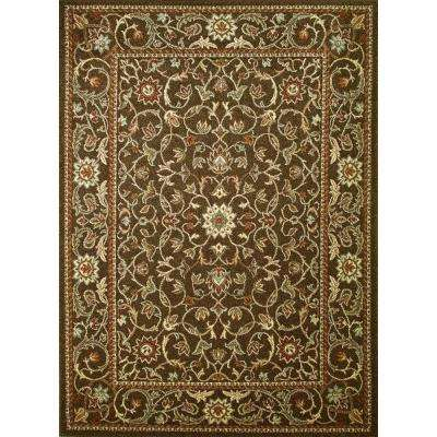 Chester Flora Brown 6 ft. 7 in. x 9 ft. 3 in. Area Rug