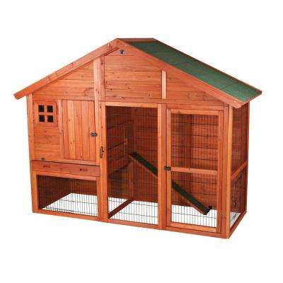 6.4 ft. x 2.6 ft. x 5 ft. Rabbit Enclosure with Gabled Roof Hutch