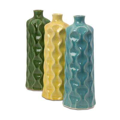 Lenor 16.5 in. Ceramic Decorative Vase in Multi-Colored (Set of 3)