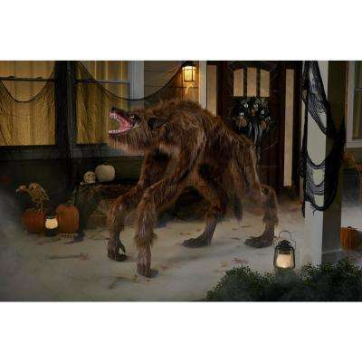 63 in. Animated Crouching Fur Werewolf with LED Eyes