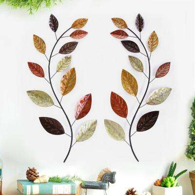 38 in. x 17 in. Leaf Metal Wall Decor