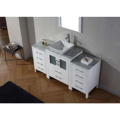 Dior 65 in. W Bath Vanity in White with Marble Vanity Top in White with Square Basin and Mirror and Faucet