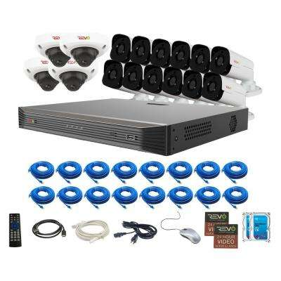 Ultra HD Audio Capable 16-Channel 8TB 4K NVR Surveillance System with Sixteen 4 Megapixel Cameras