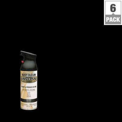 12 oz. All Surface Gloss Black Spray Paint and primer in 1 (6-Pack)