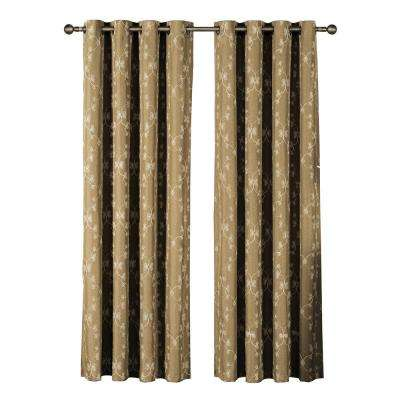 Geo Gate Embroidered Faux Linen Extra Wide 96 in. L Grommet Curtain Panel Pair, Natural (Set of 2)