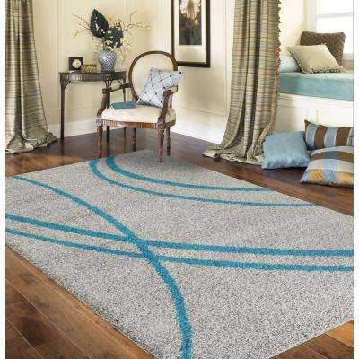 Soft Cozy Contemporary Stripe Turquoise/Gray 8 ft. x 10 ft. Indoor Shag Area Rug