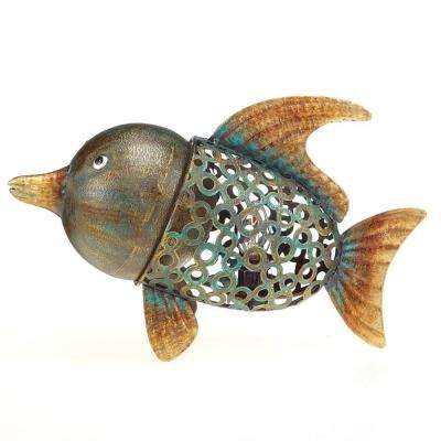 11 in. Lighted Nightlite Hand Crafted Bronze Metal Fish Luminary Table Lamp Figure