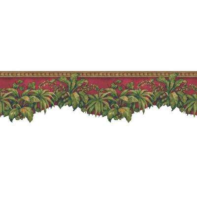 6.5 in. x 15 ft. Red and Green Jewel Tone Tropical Plants Border