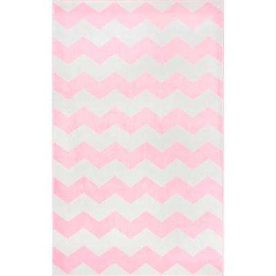 Aponte Chevron Pink 5 ft. 3 in. x 7 ft. 9 in. Area Rug