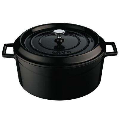 Signature 10-1/2 Qt. Enameled Cast Iron Round Dutch Oven in Obsidian Black