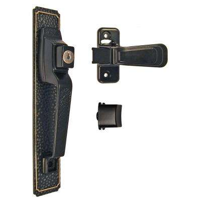Storm and Screen Door Push Button Handle and Latch Set Including Optional Key Lock in Black