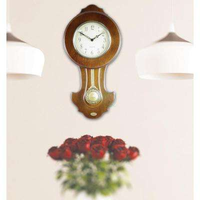 10 in. W x 3 in. D x 20 in. H Solid Wood Walnut Transitional Pendulum Wall Clock