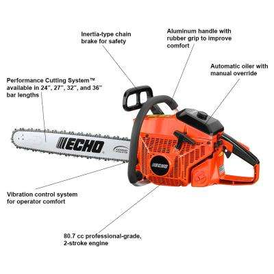24 in. 80.7 cc Gas 2-Stroke Cycle Chainsaw