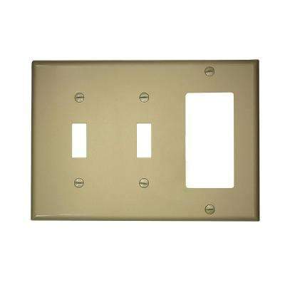 3-Gang 2-Toggles 1-Decora Standard Size Nylon Combination Wallplate, Ivory