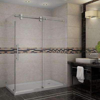 Langham 60 in. x 35 in. x 77-1/2 in. Completely Frameless Shower Enclosure in Stainless Steel with Right Base