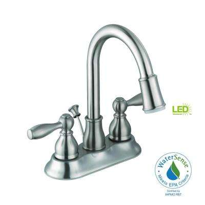 Mandouri 4 in. Centerset 2-Handle LED Bathroom Faucet in Brushed Nickel