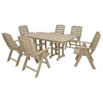 Yacht Club Sand Castle 7-Piece High Back Patio Dining Set