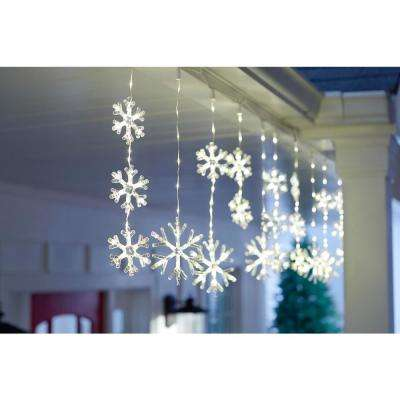 64 in. 150-Light Warm White Micro Dot LED Snowflake Icicle Light