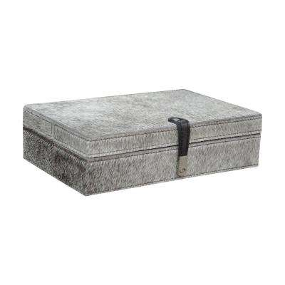 11 in. x 2 in. Grey Hair-on Leather Decorative Box