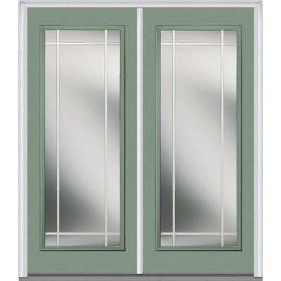 62 in. x 81.75 in. Classic Clear Glass PIM Full Lite Painted Fiberglass Smooth Exterior Double Door