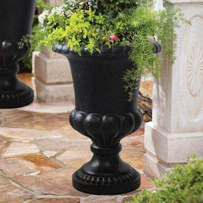 20 in. x 29 in. Cast Stone Double Bulbous Urn in Aged Charcoal