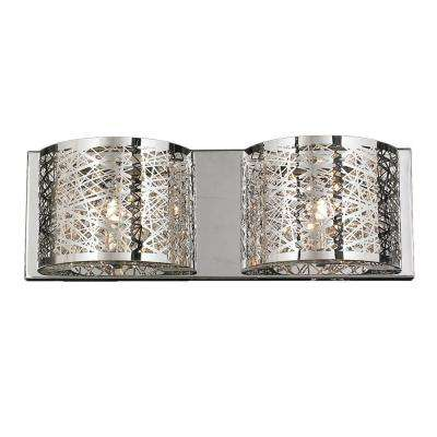 Aramis Collection 2-Light Chrome Crystal Sconce