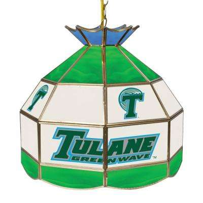 Tulane University 16 in. Gold Hanging Tiffany Style Billiard Lamp