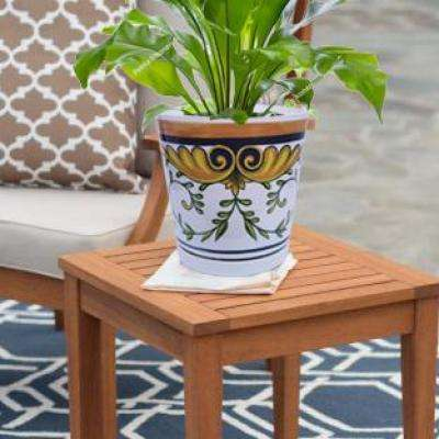 8.75 in. Vine Patterned Melamine Planter with Self Watering Saucer