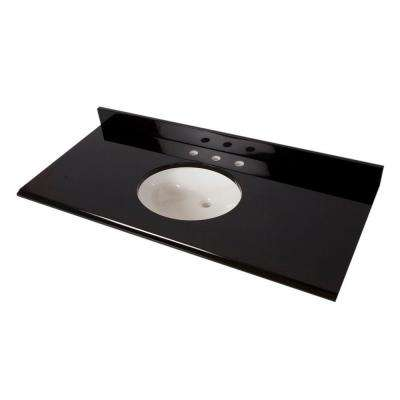 49 in. W x 22 in. D Colorpoint Vanity Top in Black with White Bowl