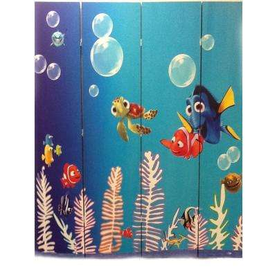 71 in. x 64 in. 4-Panel Under The Sea Printed on Canvas Room Divider