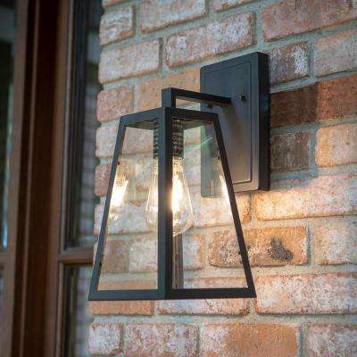 Colonade Collection 1-Light Sand Black Outdoor Wall Lantern Sconce with Clear Glass