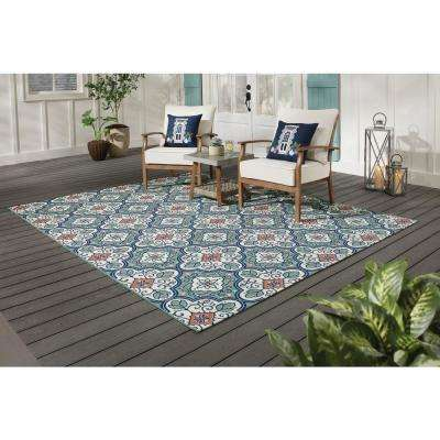 Star Moroccan 8 ft. x 10 ft. Teal/White Indoor/Outdoor Area Rug