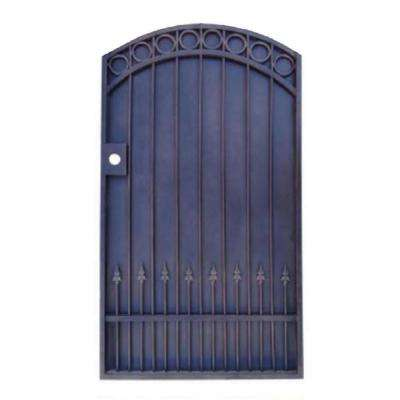 40 in. W (including posts) x 72 in. H Black Garden Metal Gate with iron sheet