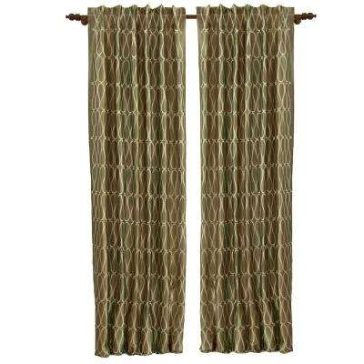 Cobblestone FEMINA Faux Silk Rod Pocket Curtain - 50 in.W x 108 in. L