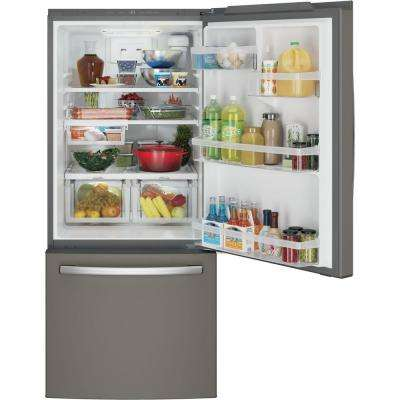 30 in. W 20.9 cu. ft. Bottom Freezer Refrigerator in Slate, with Icemaker