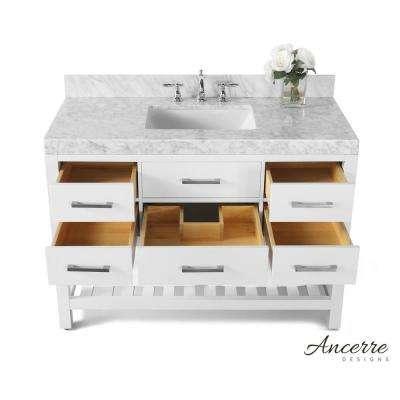 Elizabeth 48 in. W x 22 in. D Vanity in White with Marble Vanity Top in Carrara White with White Basin