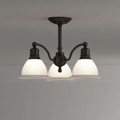 Madison Collection 20.75 in. 3-Light Antique Bronze Semi-Flush Mount Light