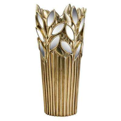 15 in. Gold Finish Gaia Decorative Vase with Glass Leaf