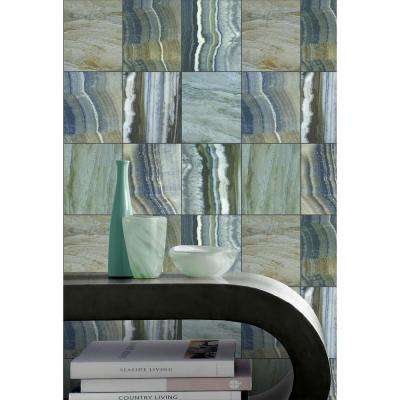 Marbled Tiles Contemporary Grey and Blue Wallpaper