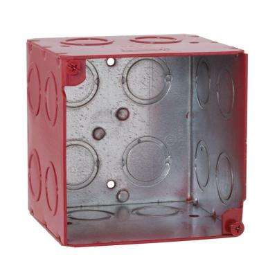 3-3/4 in. Square Welded Box, 3-1/2 Deep with 1/2 & 3/4 in. Concentric KO's - Life Safety Red (25-Pack)