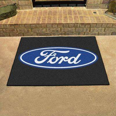 Ford - Oval Black 3 ft. x 4 ft. Indoor Rectangle Area Rug
