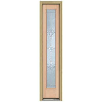 14 in. x 80 in. Authentic Wood Direct Glaze Unfinished Fir Champagne Zinc Full View Side Lite with Brickmould