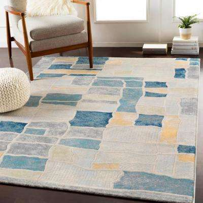 Eden Teal/Saffron 7 ft. 10 in. x 10 ft. 3 in. Abstract Area Rug