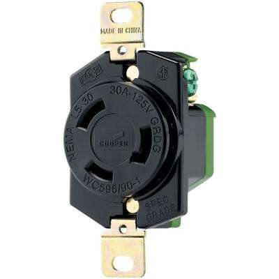30 Amp 125-Volt Hart-Lock Industrial Grade Receptacle, Black and White