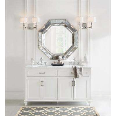 Charleston 61 in. W x 22 in. D Double Bath Vanity in White with Natural Marble Vanity Top in White