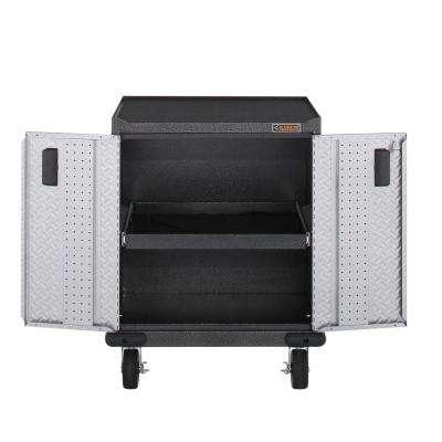 Premier Series Pre-Assembled 35 in. H x 28 in. W x 25 in. D Steel 2-Door Rolling Garage Cabinet in Silver Tread